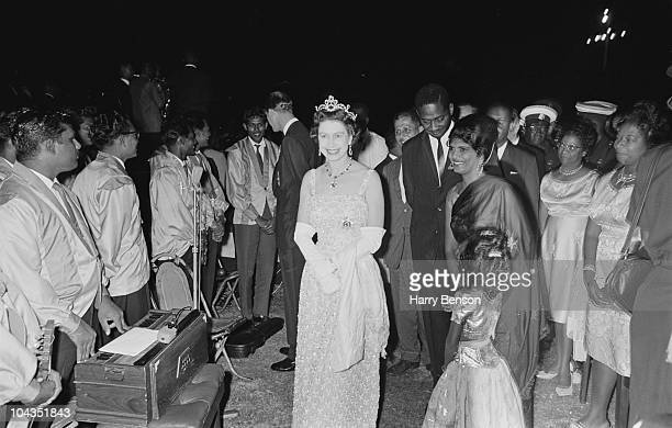 Queen Elizabeth II at a reception given by Forbes Burnham the Prime Minister of Guyana in Georgetown British Guyana during a royal tour of the...