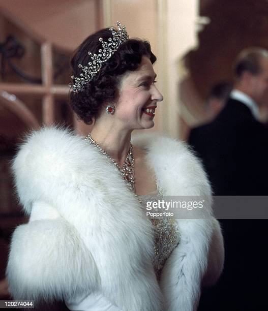 Queen Elizabeth II at a Royal Variety performance in London circa 1962