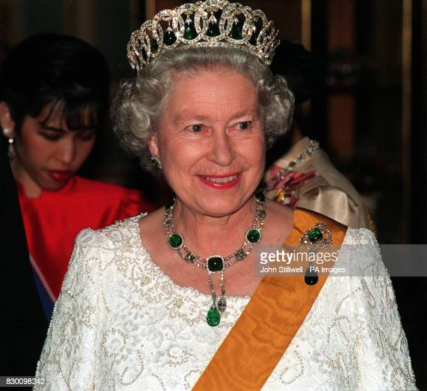 Queen Elizabeth II at a state banquet in Bangkok where she dined with Thailand's King Bhumibol