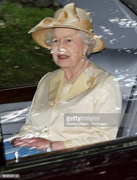 Queen Elizabeth II at Crathie Kirk for Sunday service near Balmoral where she is currently spending her summer holidays