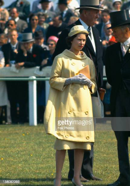 Queen Elizabeth II at Epsom Downs Racecourse for the Oaks Stakes Surrey 1960