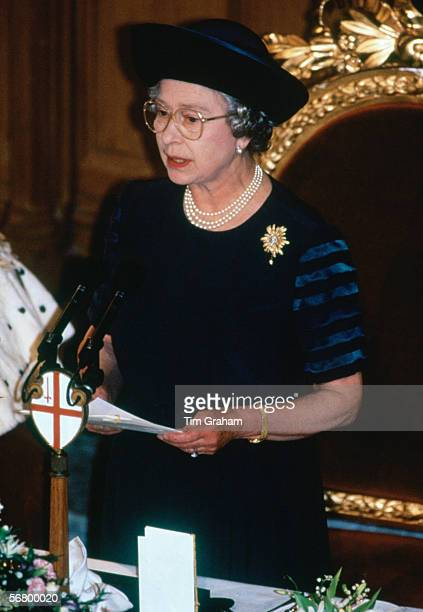 Queen Elizabeth II at Guildhall in London makes 'Annus Horribilis' speech describing her sadness at the events of the year which included the...
