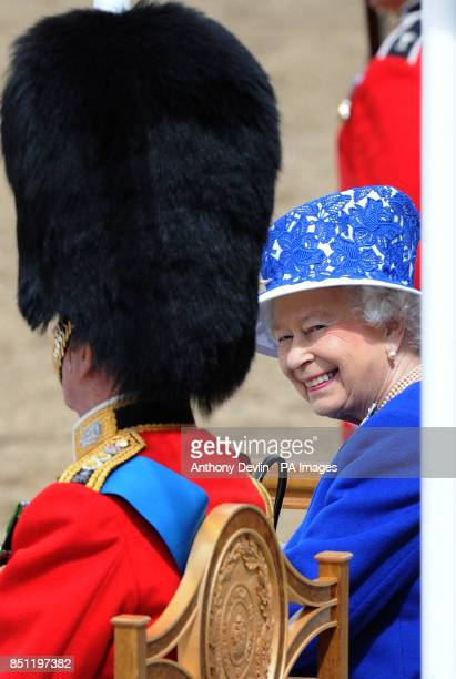 Queen Elizabeth II at Horse Guards Parade London to attend Trooping the Colour PRESS ASSOCIATION Photo Picture date Saturday June 15 2013 See PA...