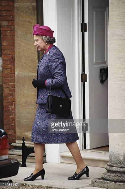 Queen Elizabeth II at Newmarket 25th April 1994 She is wearing a suit by designer John Anderson
