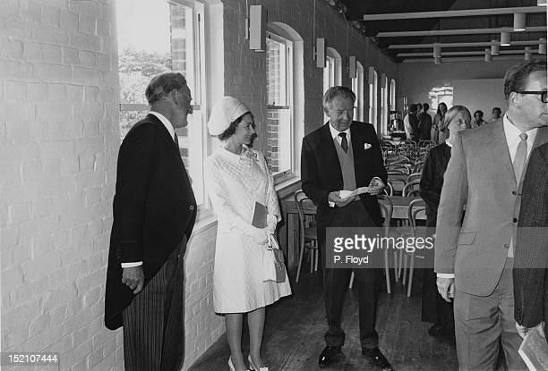 Queen Elizabeth II at the Aldeburgh Festival at Snape Maltings Concert Hall with composer and festival founder Benjamin Britten Suffolk 5th June 1970...