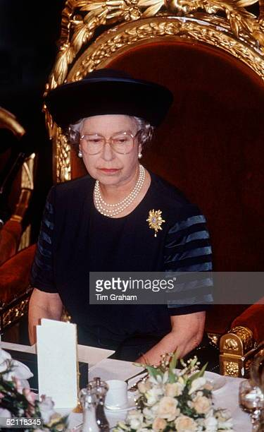 Queen Elizabeth II At The Guildhall In London Making Her 'annus Horribilis' Speech Describing Her Sadness At The Events Of The Year Which Included...
