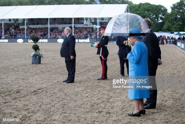 Queen Elizabeth II at the Royal Windsor Horse Show which is held in the grounds of Windsor Castle in Berkshire