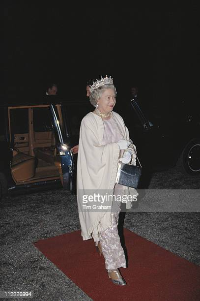 Queen Elizabeth II attending a banquet at the Schloss Charlottenburg in Berlin during an official State Visit to Germany 21 October 1992