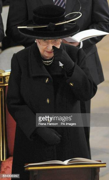 Queen Elizabeth II attending the service of Thanksgiving for the life of Sir Edmund Hillary at St George's Chapel Windsor