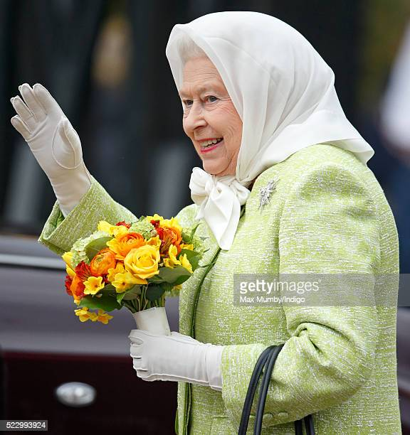 Queen Elizabeth II attends a beacon lighting ceremony to celebrate her 90th birthday on April 21 2016 in Windsor England The Queen will light the...