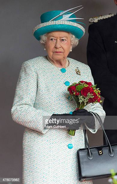 Queen Elizabeth II attends a ceremonial welcome at Lancaster Castle on May 29 2015 in Lancaster England