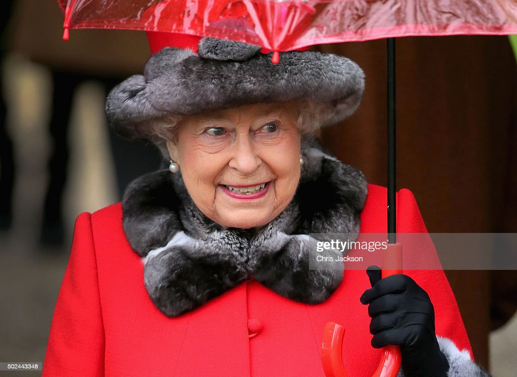 Queen Elizabeth II attends a Christmas Day church service at Sandringham on December 25, 2015 in King's Lynn, England.