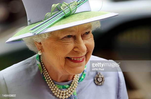 Queen Elizabeth II attends a dinner with The Argyll and Sutherland Highlanders 5th Battalion The Royal Regiment of Scotland at the Caledonian Club on...