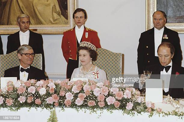 Queen Elizabeth II attends a formal banquet in Ottawa Canada October 1977