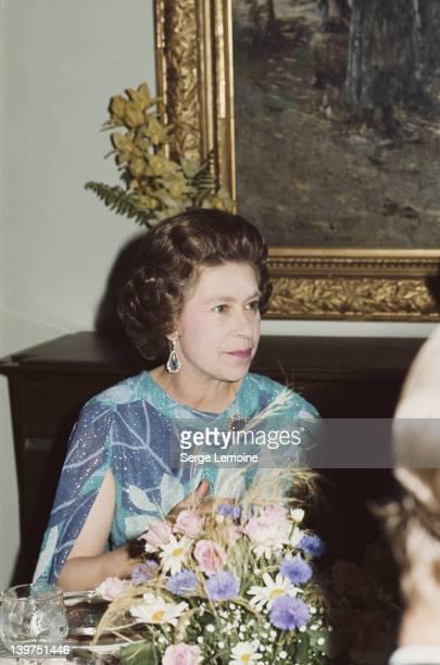 Queen Elizabeth II attends a formal dinner circa 1978