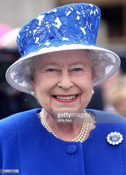 Queen Elizabeth II attends a Garden Party at Balmoral Castle on August 07 2012 in Aberdeenshire Scotland