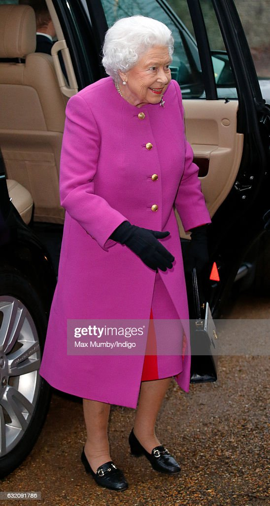 Queen Elizabeth II attends a meeting of the Sandringham branch of the Women's Institute at West Newton Village Hall on January 19, 2017 near King's Lynn, England.