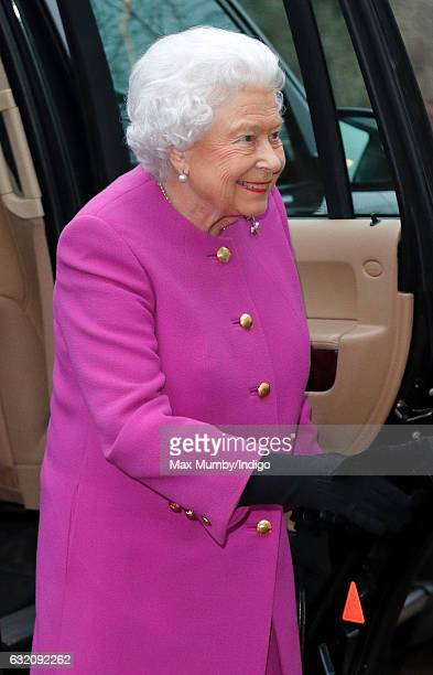 Queen Elizabeth II attends a meeting of the Sandringham branch of the Women's Institute at West Newton Village Hall on January 19 2017 near King's...