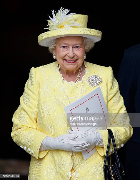 Queen Elizabeth II attends a national service of thanksgiving to mark her 90th birthday at St Paul's Cathedral on June 10 2016 in London England