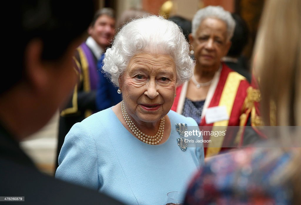 Queen Elizabeth II attends a reception for the Queen's Anniversary Prizes for Higher and Further Education at Buckingham Palace on February 27, 2014 in London, England.