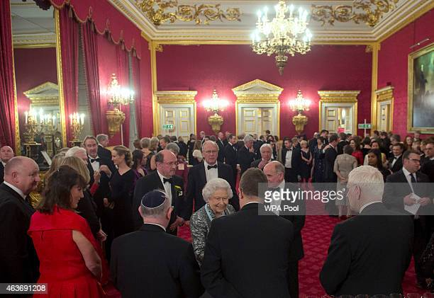 Queen Elizabeth II attends a reception to mark the 80th anniversary of Diabetes UK at St James's Palace on February 17 2015 in London England