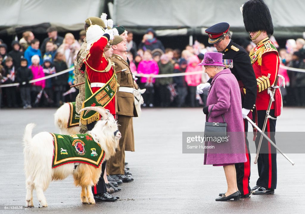 Queen Elizabeth II attends a review and presents Leeks to The Royal Welsh to mark St David's Day at Lucknow Barracks on March 3, 2017 in Tidworth, England.