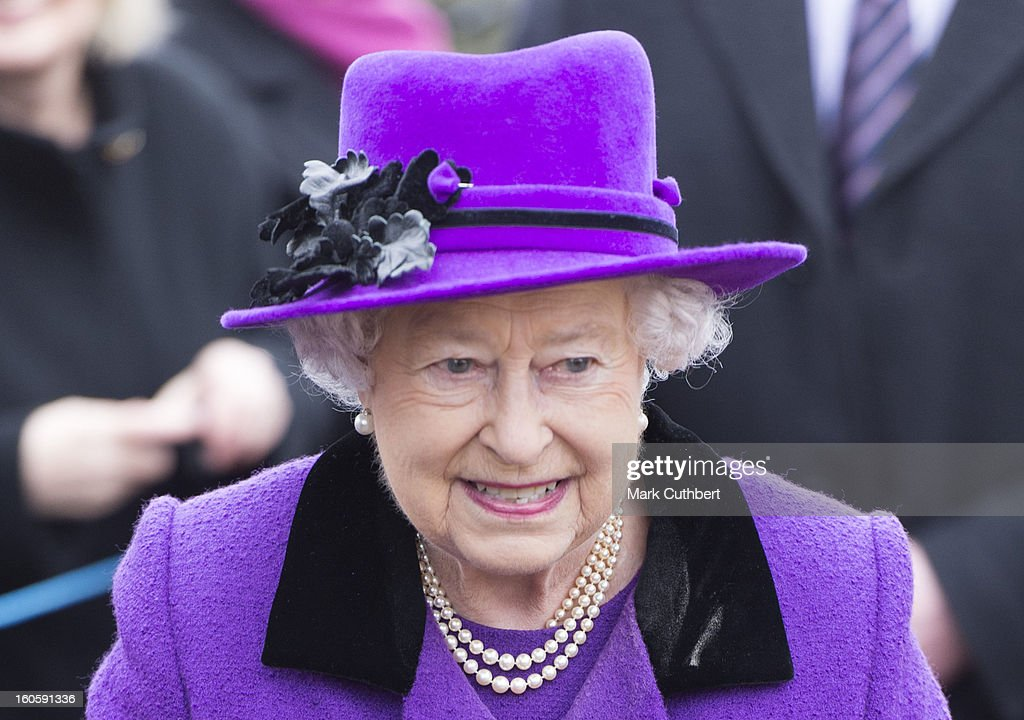 Queen Elizabeth II attends a service at the Church Of St Peter And St Paul in West Newton near Sandringhamon February 3, 2013 near King's Lynn, England.