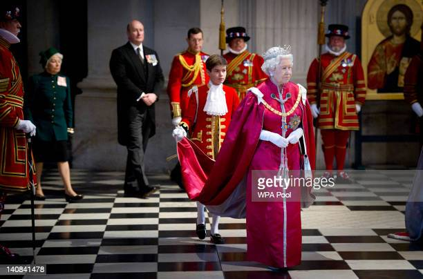 Queen Elizabeth II attends a service for the Order of the British Empire at St Paul's Cathedral on March 7 2012 in London England