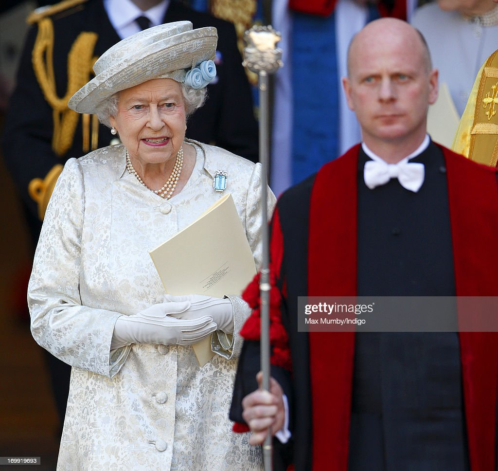 Queen Elizabeth II attends a service of celebration to mark the 60th anniversary of her Coronation at Westminster Abbey on June 4, 2013 in London, England. The Queen's Coronation took place on June 2, 1953 after a period of mourning for her father King George VI, following her ascension to the throne on February 6, 1952. The event 60 years ago was the first time a coronation was televised for the public.