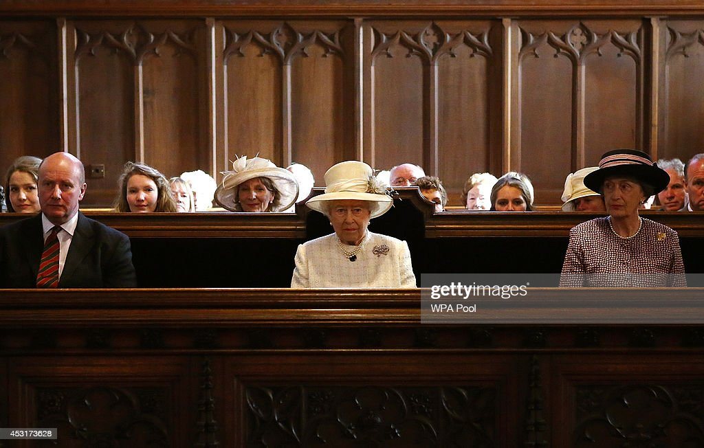 Queen <a gi-track='captionPersonalityLinkClicked' href=/galleries/search?phrase=Elizabeth+II&family=editorial&specificpeople=67226 ng-click='$event.stopPropagation()'>Elizabeth II</a> (C) attends a service of commemoration at Crathie Kirk Church on August 4, 2014 in Crathie, Aberdeenshire, Scotland. Monday 4th August marks the 100th anniversary of Great Britain declaring war on Germany. In 1914 British Prime Minister Herbert Asquith announced at 11 pm that Britain was to enter the war after Germany had violated Belgium neutrality. The First World War or the Great War lasted until 11 November 1918 and is recognised as one of the deadliest historical conflicts with millions of causalities. A series of events commemorating the 100th anniversary are taking place throughout the day.