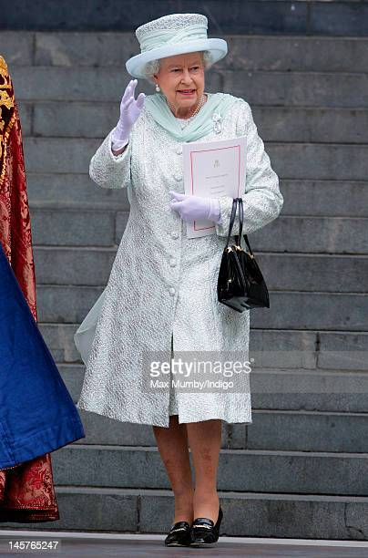 Queen Elizabeth II attends a Service of Thanksgiving to celebrate her Diamond Jubilee at St Paul's Cathedral on June 5 2012 in London England For...