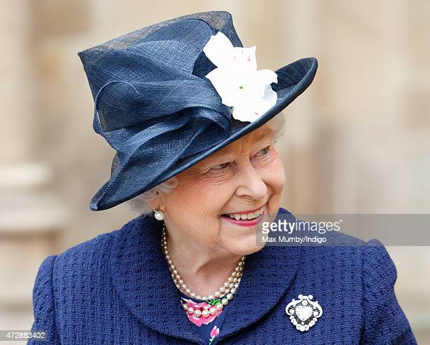Queen Elizabeth II attends a Service of Thanksgiving to mark the 70th Anniversary of VE Day at Westminster Abbey on May 10 2015 in London England