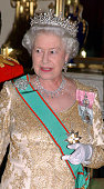 Queen Elizabeth II attends a State Banquet for the Italian Presidential state visit to the UK at Buckingham Palace on March 15 2005 in London England