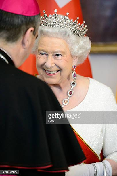 Queen Elizabeth II attends a State Banquet on day 2 of a four day State Visit on June 24 2015 in Berlin Germany