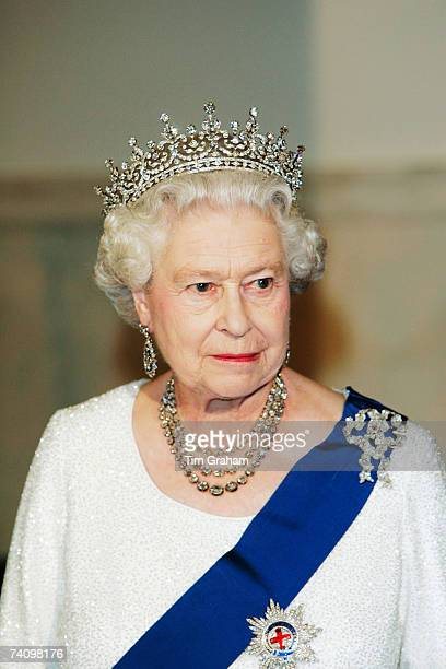 Queen Elizabeth II attends a State Dinner at the White House on the fifth day of her USA tour on May 7 2007 in Washington DC