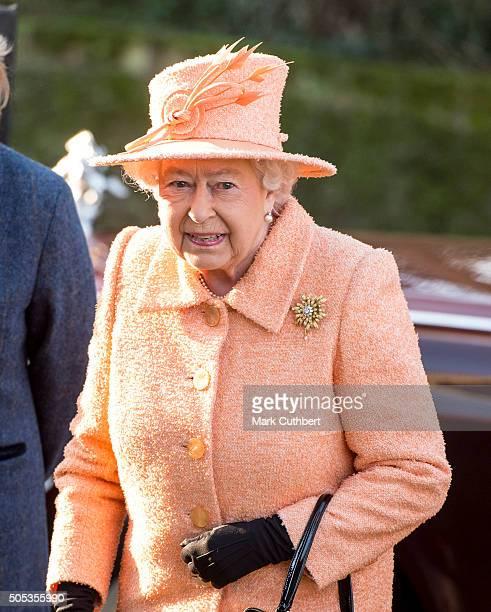 Queen Elizabeth II attends church at Hillington on January 17 2016 in King's Lynn England