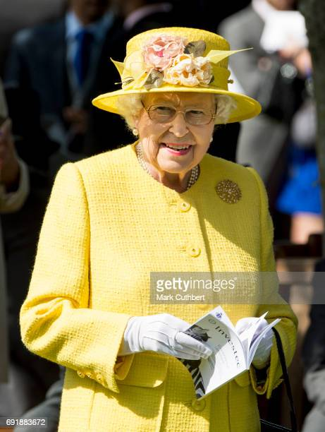Queen Elizabeth II attends Derby day at Epsom Derby festival at Epsom Downs on June 3 2017 in Epsom England