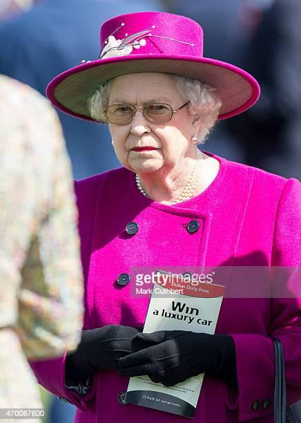 Queen Elizabeth II attends Dubai Duty Free Spring Trials Meeting at Newbury Racecourse on April 17 2015 in Newbury England
