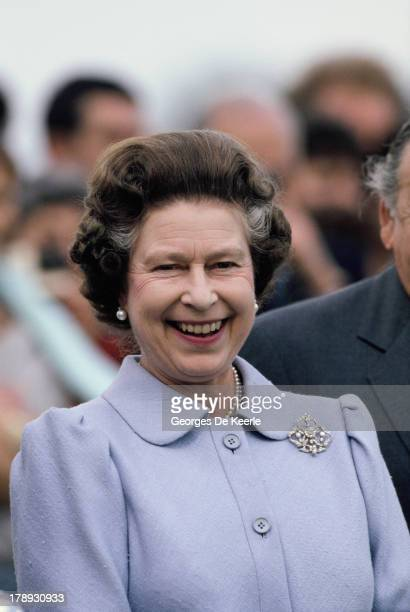 Queen Elizabeth II attends Royal Ascot on June 16 1987 in Ascot England
