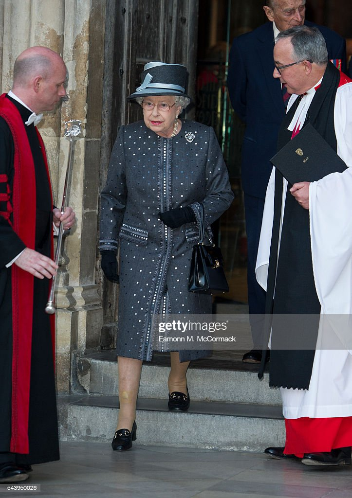 Queen <a gi-track='captionPersonalityLinkClicked' href=/galleries/search?phrase=Elizabeth+II&family=editorial&specificpeople=67226 ng-click='$event.stopPropagation()'>Elizabeth II</a> attends Service on the eve of the centenary of The Battle of The Somme at Westminster Abbey on June 30, 2016 in London, England.