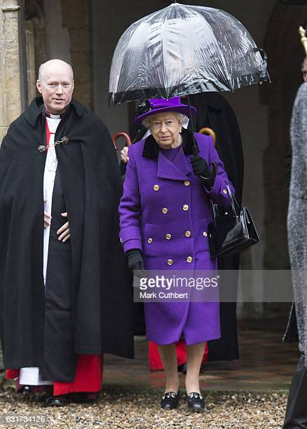 Queen Elizabeth II attends Sunday Church Service at St Mary the Virgin on January 15 2017 in Flitcham England