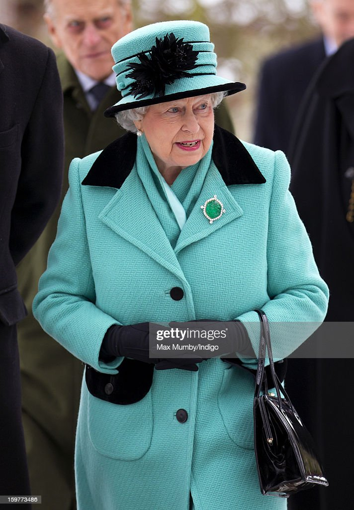 Queen Elizabeth II attends Sunday Service at the Church of St Lawrence in Castle Rising near the Sandringham Estate on January 20, 2013 near King's Lynn, England.