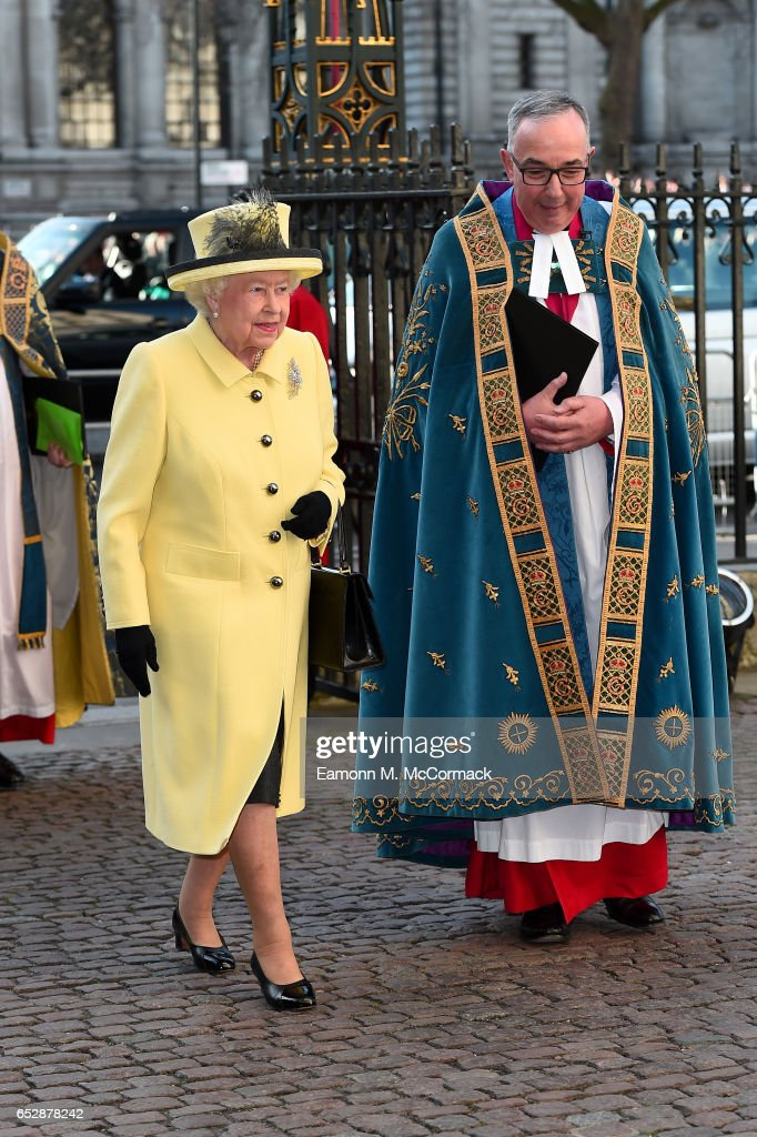 Queen Elizabeth II (L) attends the annual Commonwealth Day service and reception during Commonwealth Day celebrations on March 13, 2017 in London, England.