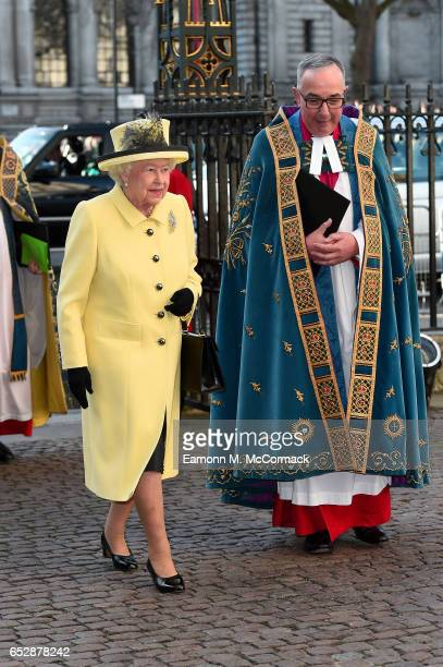 Queen Elizabeth II attends the annual Commonwealth Day service and reception during Commonwealth Day celebrations on March 13 2017 in London England