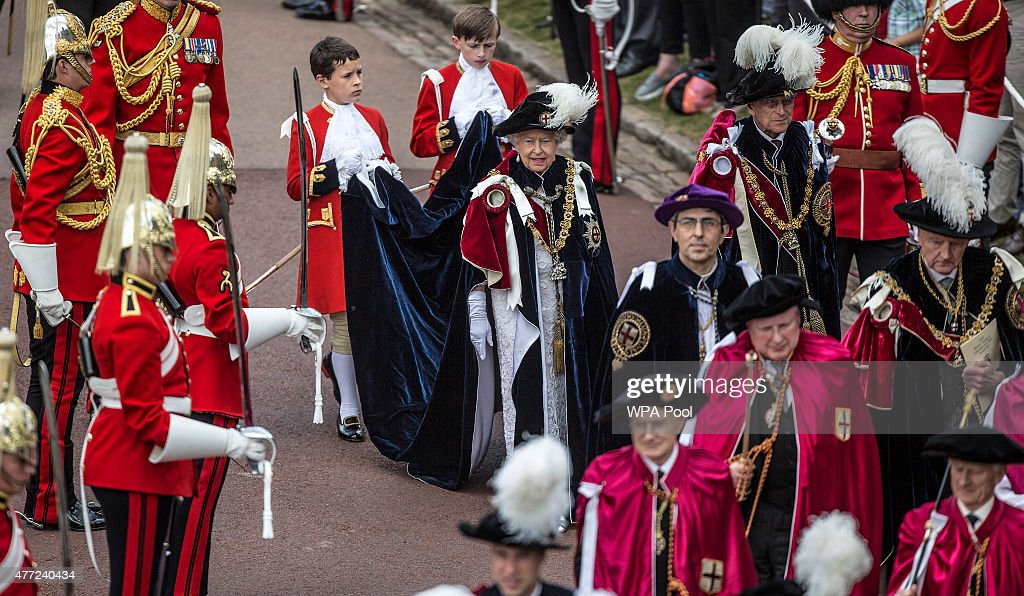Queen Elizabeth II attends the annual Order of the Garter Service at St George's Chapel in Windsor Castle on June 15, 2015 in Windsor, England. The Order of the Garter is the most senior and the oldest British Order of Chivalry and was founded by Edward III in 1348.
