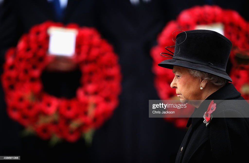 Queen Elizabeth II attends the annual Remembrance Sunday Service at the Cenotaph on Whitehall on November 9, 2014 in London, United Kingdom. People across the UK gather to pay tribute to service personnel who have died in the two World Wars and subsequent conflicts, with this year taking on added significance as it is the centenary of the outbreak of World War One.