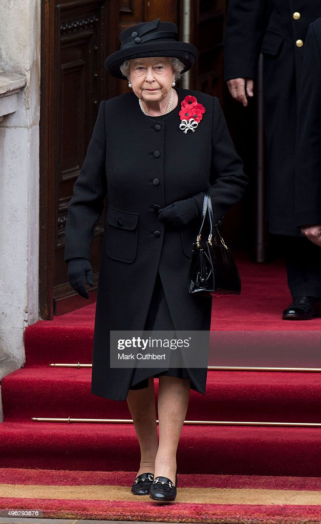 Queen Elizabeth II attends the annual Remembrance Sunday Service at the Cenotaph on Whitehall at The Cenotaph on November 8, 2015 in London, England. The National Service of Remembrance takes place at the Cenotaph in Whitehall, London. The Queen, senior politicians, including the British Prime Minister and former British Prime Ministers, alongside representatives from the armed forces pay tribute to those who have suffered or died at war.