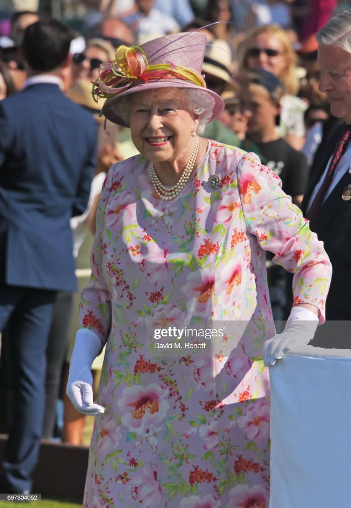 Queen Elizabeth II attends the Cartier Queen's Cup Polo final at Guards Polo Club on June 18, 2017 in Egham, England.