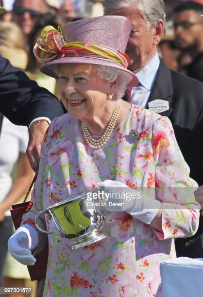 Queen Elizabeth II attends the Cartier Queen's Cup Polo final at Guards Polo Club on June 18 2017 in Egham England