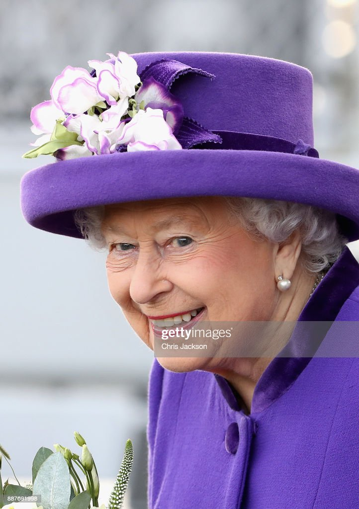 Queen Elizabeth II attends the Commissioning Ceremony of HMS Queen Elizabeth at HM Naval Base on December 7, 2017 in Portsmouth, England.
